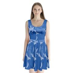 Blue Amoeba Abstraction Split Back Mini Dress