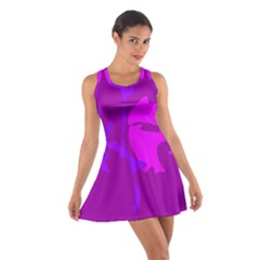 Purple, Pink And Magenta Amoeba Abstraction Cotton Racerback Dress by Valentinaart