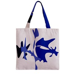 Blue Amoeba Abstract Zipper Grocery Tote Bag by Valentinaart