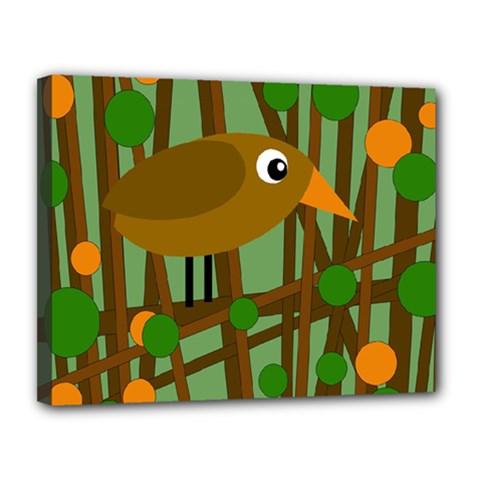 Brown Bird Canvas 14  X 11  by Valentinaart