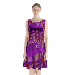 Sweet Purple Bird Sleeveless Waist Tie Dress