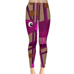 Cute Magenta Bird Leggings  by Valentinaart