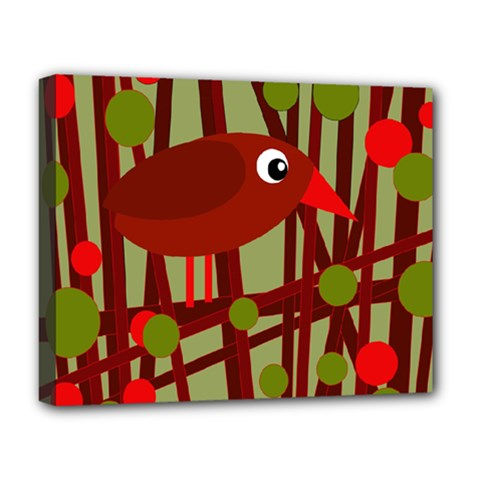Red Cute Bird Deluxe Canvas 20  X 16   by Valentinaart