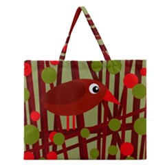 Red Cute Bird Zipper Large Tote Bag by Valentinaart