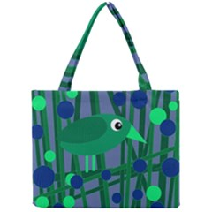 Green And Blue Bird Mini Tote Bag by Valentinaart