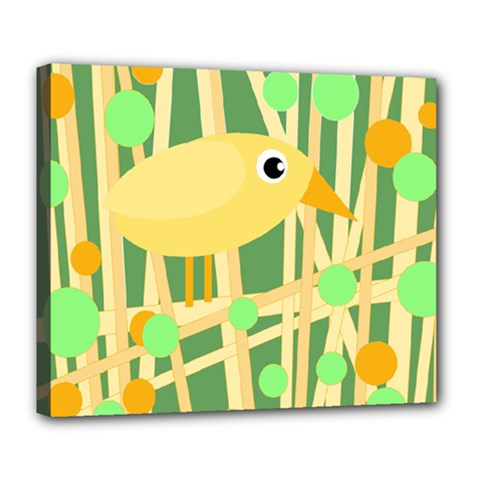 Yellow Little Bird Deluxe Canvas 24  X 20   by Valentinaart