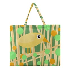 Yellow Little Bird Zipper Large Tote Bag by Valentinaart