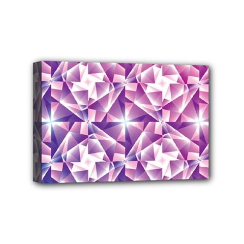 Purple Shatter Geometric Pattern Mini Canvas 6  X 4  by TanyaDraws