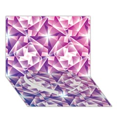 Purple Shatter Geometric Pattern Heart Bottom 3d Greeting Card (7x5)
