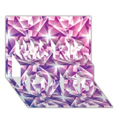 Purple Shatter Geometric Pattern Work Hard 3d Greeting Card (7x5) by TanyaDraws