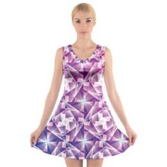 Purple Shatter Geometric Pattern V Neck Sleeveless Skater Dress by TanyaDraws