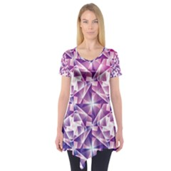 Purple Shatter Geometric Pattern Short Sleeve Tunic  by TanyaDraws