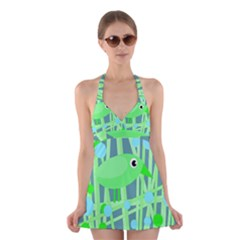 Green bird Halter Swimsuit Dress by Valentinaart