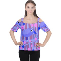 Purple And Blue Bird Women s Cutout Shoulder Tee by Valentinaart