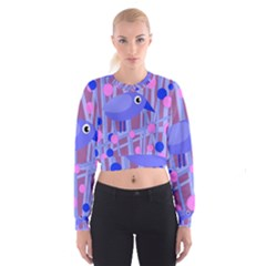 Purple And Blue Bird Women s Cropped Sweatshirt by Valentinaart