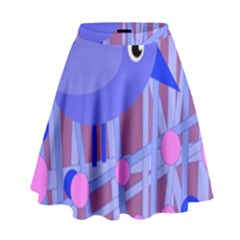 Purple And Blue Bird High Waist Skirt