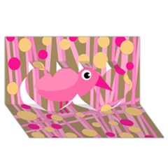 Pink Bird Twin Hearts 3d Greeting Card (8x4) by Valentinaart
