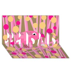 Pink Bird #1 Dad 3d Greeting Card (8x4) by Valentinaart