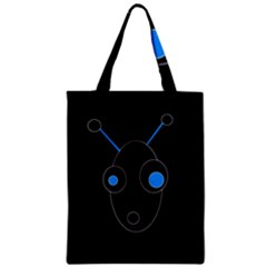Blue Alien Zipper Classic Tote Bag by Valentinaart