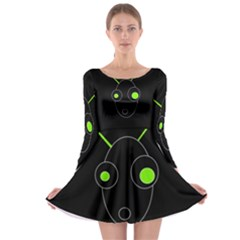 Green Alien Long Sleeve Skater Dress by Valentinaart