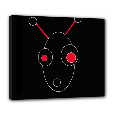Red Alien Deluxe Canvas 24  X 20   by Valentinaart