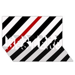 Red, Black And White Lines Best Bro 3d Greeting Card (8x4) by Valentinaart