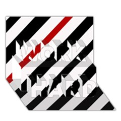 Red, Black And White Lines Work Hard 3d Greeting Card (7x5) by Valentinaart