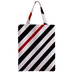 Red, Black And White Lines Classic Tote Bag by Valentinaart