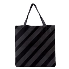 Gray And Black Lines Grocery Tote Bag by Valentinaart