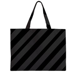 Gray And Black Lines Zipper Large Tote Bag