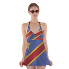 Flag Of Democratic Republic Of The Congo Halter Swimsuit Dress by artpics
