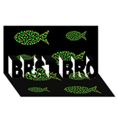 Green fishes pattern BEST BRO 3D Greeting Card (8x4) by Valentinaart