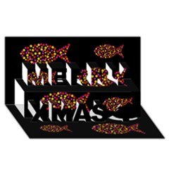 Orange fishes pattern Merry Xmas 3D Greeting Card (8x4) by Valentinaart