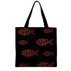 Orange Fishes Pattern Zipper Grocery Tote Bag by Valentinaart