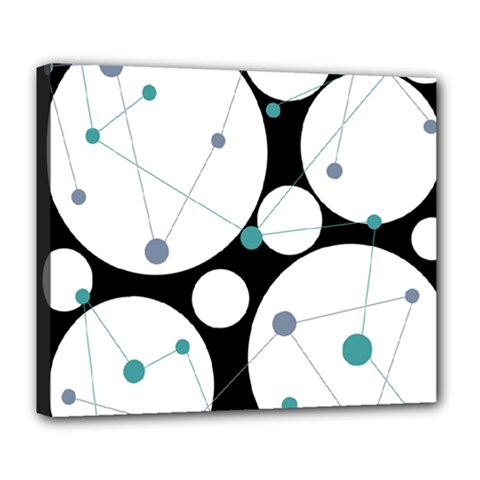 Decorative Circles   Blue Deluxe Canvas 24  X 20   by Valentinaart