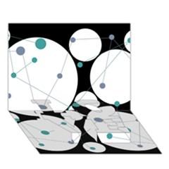 Decorative Circles   Blue Love Bottom 3d Greeting Card (7x5) by Valentinaart