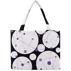 Decorative Circles   Purple Mini Tote Bag by Valentinaart