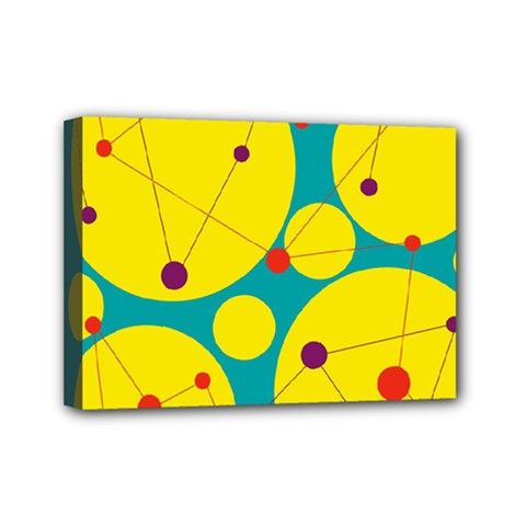 Yellow and green decorative circles Mini Canvas 7  x 5  by Valentinaart