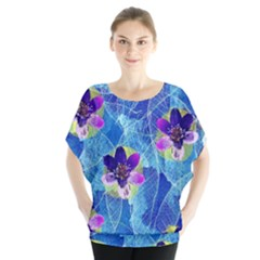 Purple Flowers Batwing Chiffon Blouse by DanaeStudio