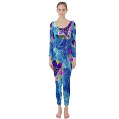 Purple Flowers Long Sleeve Catsuit