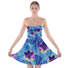 Purple Flowers Strapless Bra Top Dress