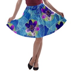 Purple Flowers A Line Skater Skirt