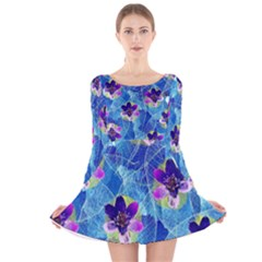 Purple Flowers Long Sleeve Velvet Skater Dress
