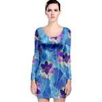Purple Flowers Long Sleeve Velvet Bodycon Dress