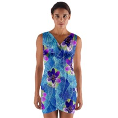 Purple Flowers Wrap Front Bodycon Dress