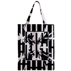 Black And White Abstraction Zipper Classic Tote Bag by Valentinaart