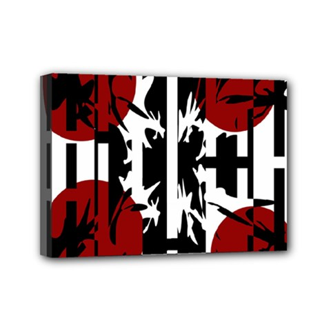 Red, Black And White Elegant Design Mini Canvas 7  X 5  by Valentinaart
