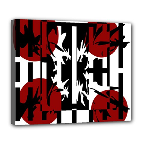 Red, Black And White Elegant Design Deluxe Canvas 24  X 20   by Valentinaart