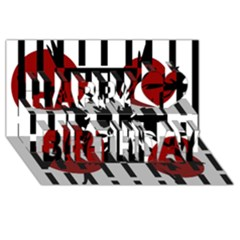 Red, Black And White Elegant Design Happy Birthday 3d Greeting Card (8x4)