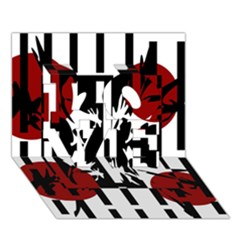 Red, Black And White Elegant Design Love 3d Greeting Card (7x5) by Valentinaart